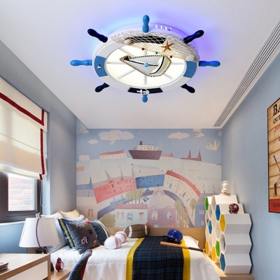 Wood Rudder Ceiling Light Fixture Mediterranean Led Ceiling Flush Mount with Sailboat