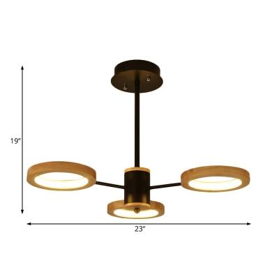 Wooden Loop Chandelier Lighting Nordic Style Integrated Led Hanging Pendant Light in Black