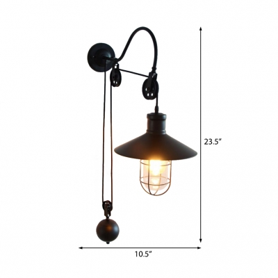 Arched Wall Mounted Light Retro Style Metal 1 Light Pulley Wall Sconce Lighting In Black For Restaurant Beautifulhalo Com