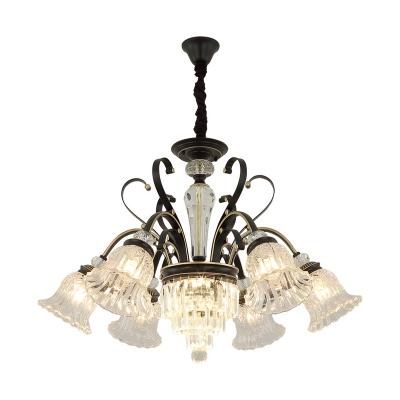 Black Bell-Shaped Chandelier Light Modern Crystal Metal 6 Lights Hanging Pendant Lights for Dining Room