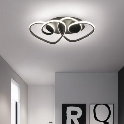 Black Twisted Flush Mount Light with Heart Design Metal 2-LED Indoor Ceiling Light