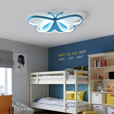 Blue/Pink Butterfly Flush Mount Light for Kids Room, Contemporary Iron and Acrylic Ceiling Light Fixture