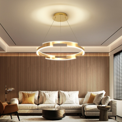 Circle Ring Hanging Pendant Light Post Modern Metal Led Living Room Chandelier in Gold