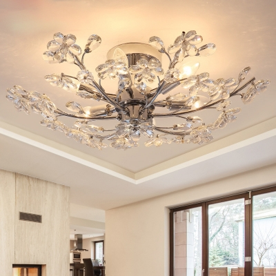 Flower Crystal Ceiling Chandelier Contemporary Metal 6 Lights Ceiling Light Fixture In Silver Beautifulhalo Com