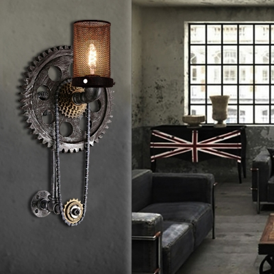 Gear Sconce Light Fixture Aged Metal Wall Sconce Light Fixture in Antique Black for Restaurant