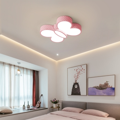 Girls Bedroom Ceiling Light With Butterfly Shaped Shade Modern Metal Led Flush Lighting Beautifulhalo Com