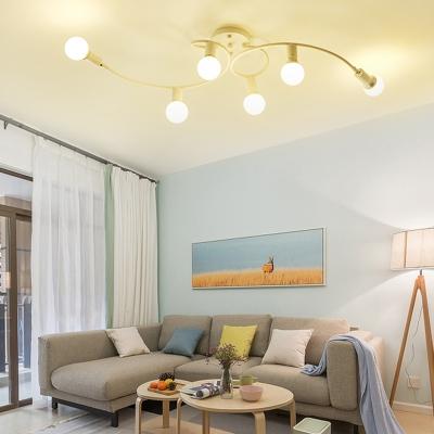 Metal Twist Semi Flush Mount 6 Light Modern Ceiling Light Fixture in Black/White for Bedroom