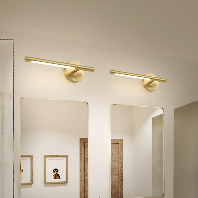 Mid Century Modern Linear Wall Sconce Metallic Led Bathroom Vanity Lighting in Gold