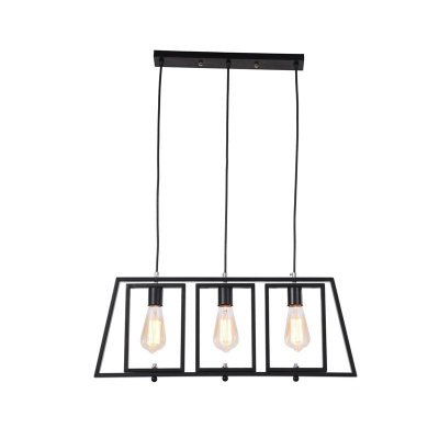 Minimalist 3-Light Ceiling Pendant Light Metal Squared Ceiling Light Fixtures in Black over Kitchen Island