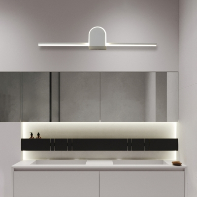 Modern Arc/Triangle Wall Sconce for Bathroom, Metal and Acrylic Wall Light Fixture in Black/White