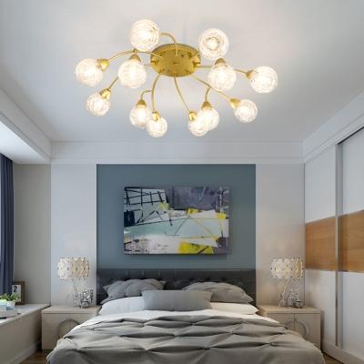 Modern Gold Finish Semi Flush Ceiling Light with Orb Shade 6/12 Light Glass Flush Mount Light for Bedroom