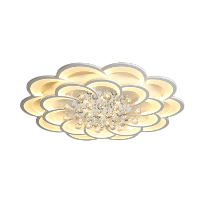 Modern Nordic Floral Flush Light with Crystal Ball Decoration Integrated Led White Ceiling Light Fixture