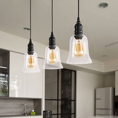 Modern Pendant Ceiling Light Metal and Glass Single-Bulb Hanging