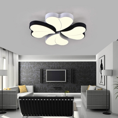 Modernism Clover Ceiling Flush Light Black and White Led Metal Flushmount with Diffuser