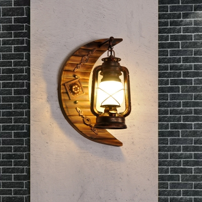 Nautical Wall Mounted Light Metal 1 Head Moon Wall Sconce Light with Burnt Bamboo Base for Foyer