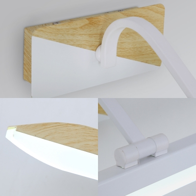 Nordic Style Wooden Sconce Wall Lights Acrylic 1 Head Linear Sconce Light Fixture in White for Bathroom