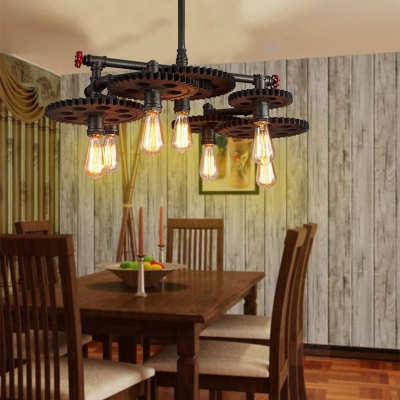 Novelty Gear Hanging Lamp Retro Industrial Metal Pendant Lighting with Pipe for Restaurant
