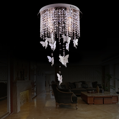 Novelty White Angel Ceiling Lights Contemporary Crystal Bead Ceiling Light Fixtures for Living Room