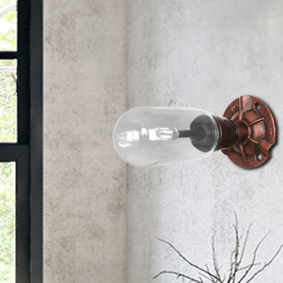 Rust Sconce Lighting Fixtures Antique Steel and Glass 1 Bulb Sconce Wall Lights for Foyer