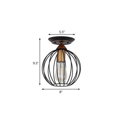 Sphere Cage Semi-Flush Mount Antiqued Metal 1 Head Semi Flush Mount Light in Black for Bedroom