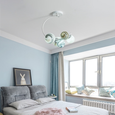 Sphere Chandelier Pendant Light Contemporary Blown Glass and Iron Swirl Chandelier Lighting Fixture