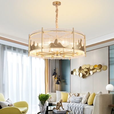 Unique Brass Drum Hanging Chandelier Contemporary Crystal Glass 10 Heads Lighting Fixture for Dining Room
