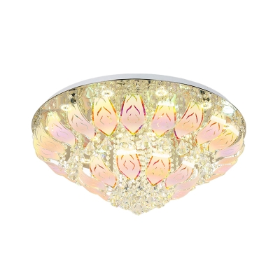 Unique Multi-Colored Close to Ceiling Light Modern Glass Crystal Ceiling Lights for Indoor