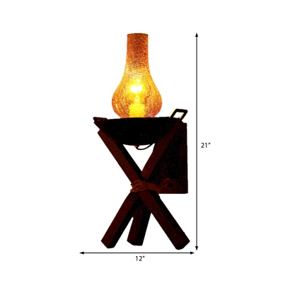 Vase Sconce Lights Modern Crackle Glass 1-Light Sconce Light Fixture with Rope for Coffee Shop