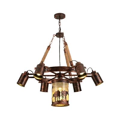 Wagon Wheel Pendant Chandelier Rustic Rope and Iron Hanging Light Fixtures for Dining Room