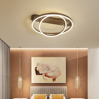 2/3/4 Rings Adjustable Ceiling Light Nordic Metal Flush Lighting in Brown for Sitting Room