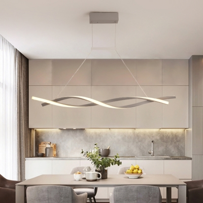 2 Lights Twisted Chandelier Light Minimalism Acrylic Led Indoor Pendant Light for Kitchen