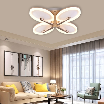 3/4 Head Petal Flushmount Light Fixture Modern Acrylic Shade LED Ceiling Flush for Hotel