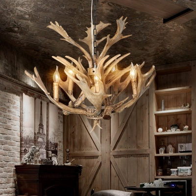 5 Heads Candle Hanging Lamp with Deer Horn Resin Rustic Chandelier in Beige for Living Room