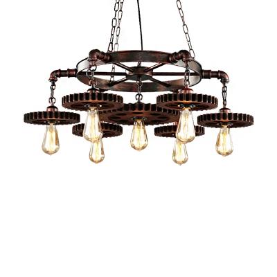7-Light Open Bulb Ceiling Pendant Light Vintage Steel Chandelier Lighting Fixture for Indoor