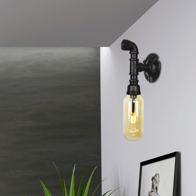 Amber Sconce Lighting Fixtures Antique Iron and Glass 1 Light Sconce Lamp with Switch for Hall