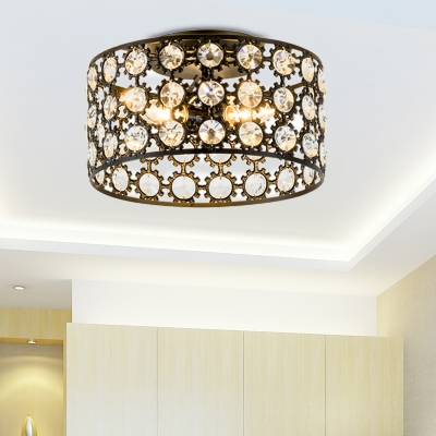 Black Crystal Drum Flush Mount Chandelier Modern Metal 3 Light Flush Mount Light for Corridor