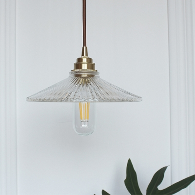 Brass Finish Cone Hanging Pendant Light Industrial Single-Bulb Ceiling Pendant with Ribbed Glass Shade, HL559481