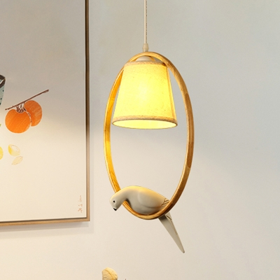 Bucket Pendant Lighting with Wooden Ring Nordic Style Fabric Ceiling Hanging Light in White