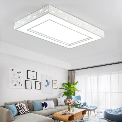 Contemporary Rectangle/Square Ceiling Lamp with Diffuser and Crystal Prism Metallic White 1 Light Flush Mount