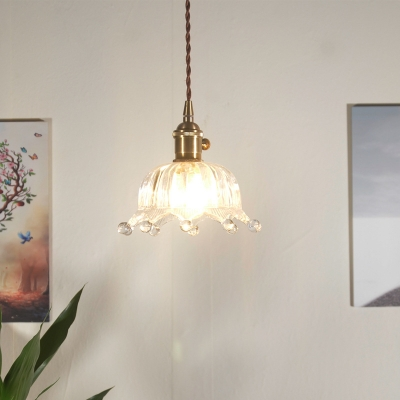 Crown Shade Ceiling Pendant Industrial Modern Clear Glass 1-Light Cord Pendant, Brass Finish