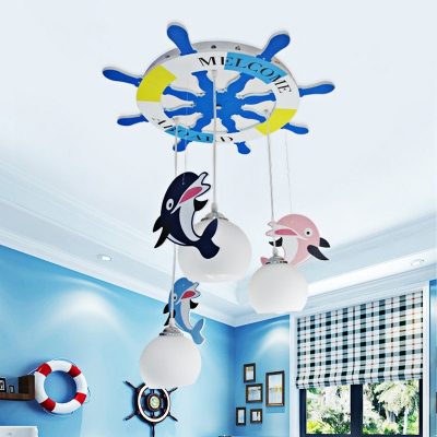 Globe Glass Pendant Light with Dolphin and Round Rudder Canopy 3 Lights Ceiling Light