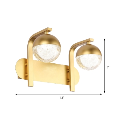 Gold Orb Sconce Light Fixture Modern Metal Acrylic 2 Heads Sconce Wall Lights for Corridor Hallway
