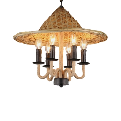 Hand Woven Pendant Chandelier Rustic Metal 6 Heads Hanging Chandelier Light with Rope for Restaurant Bar