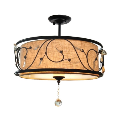 Industrial Drum Semi Flush Light Fabric Shade and Metal Frame Semi Flushmount with Crystal Ball