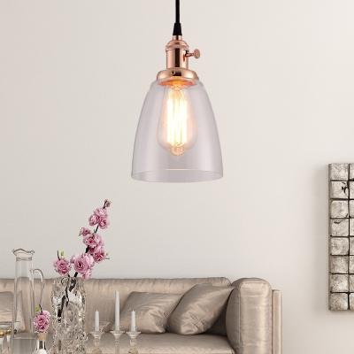 Industrial Glass Pendant Light Single Light Bell Hanging Light Fixtures for Corridor, HL559553, Bronze;rose gold;brass;chrome;copper