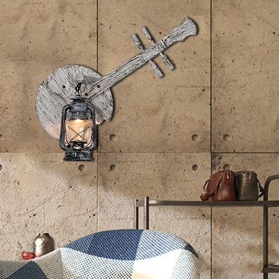 Instrument Sconce Lights Coastal Iron and Wood 1-Light Sconce Light Fixture in Distressed White for Coffee Shop