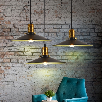 Loft Cone Shade Pendant Light Fixtures Metal 1 Bulb Hanging Pendant Lights in Black HL559306 фото