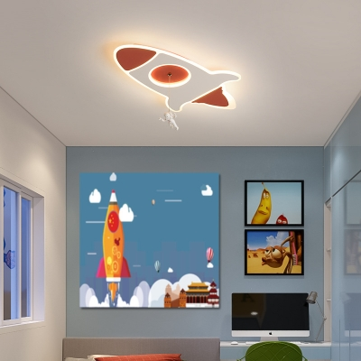 Metallic Rocket Flush Ceiling Lamp with Hanging Astronaut Led Ceiling Light Fixture
