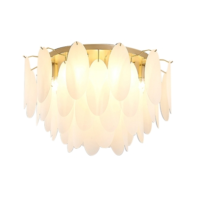 Mid Century Modern Flush Lighting with Oval Frosted Glass Shade Living Room Ceiling Light in Gold
