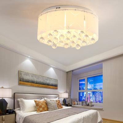 Modern Drop Flush mount Ceiling Light Crystal White Ceiling Light Fixture for Bedroom